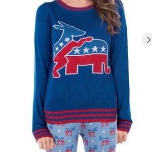Tipsy Elves Democratic Donkey Sweater Sz L NWT